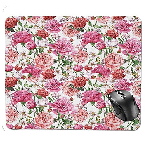J5E7JYTE Mouse Pad,Peonies and Roses Victorian Style Floral Pattern Painting Style Print Decorative Mouse Pad - Victorian Rose Bath