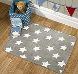 Flair Rugs Nursery Print Stars Childrens Rug, Grey, 70 x 100 Cm