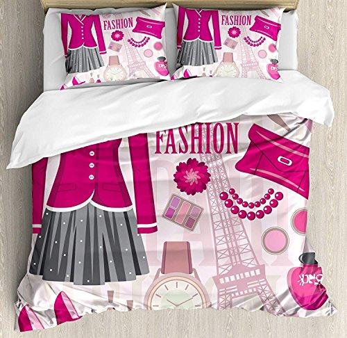 Mädchen 3-teiliges Bettwäscheset Bettbezug-Set, Modethema in Paris mit Outfits Kleiden Uhr Geldbörse Parfüm Parisienne Wahrzeichen, 3-tlg. Tröster- / Qulitbezug-Set mit 2 Kissenbezügen, Rosa Biege - 2 Tröster Set