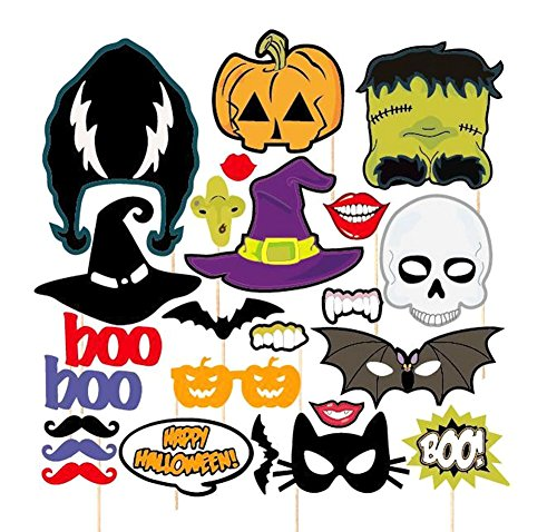Demarkt Halloween Fotoaccessoires Fotorequisiten Foto Booth Foto DIY Kit Halloween Requisiten 24 Stück (Diy Batman Maske)