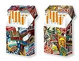 slipp overall - 2er SET - originelle Designs: Alte Kofferaufkleber + Matches - Zigarettenschachtel-Etui / Zigarettenschachtel-Überzieher mit Deckel aus Karton / Pappe / passend für die meisten 20er / L-Schachteln
