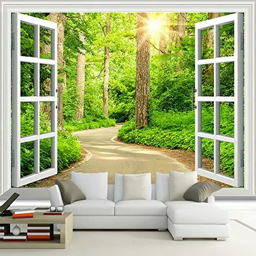 Fototapete Grün Sunny Forest Road Fenster Naturlandschaft Wandbild Wohnzimmer Sofa Tv Hintergrund 3D Wallpaper (Wallpaper Grenzen Für Mädchen)