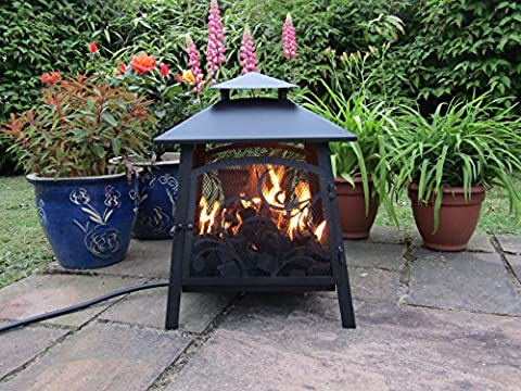 Pagoda GAS Fire Pit, Real flame LPG Patio Heater, Patio / Camping Clip On Propane Regulator (Green, Coal)