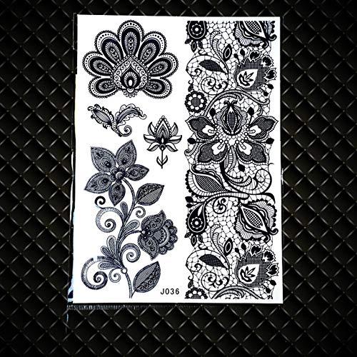 Lihaohao adesivo tatuaggio temporaneo nero bracciali catene acqua trasferimento tattoo sticker per gambe mani braccio falso fiore impermeabile grande tatuaggio pizzo 20x15cm 4pz