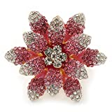 Relieve en tamaño grande transparente/rosa Cristales de Swarovski en Narciso anillo bañados en oro - 40 mm tamaño 7 diámetro - / 8 (ajustable)