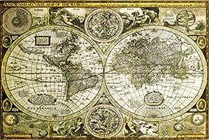 1art1 61804 Cartes Historiques Poster Carte du Monde 91 x 61 cm