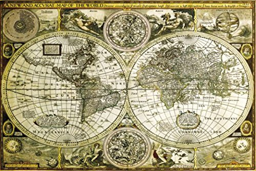 1art1® 61804 - Póster mapamundi Antiguo 91 x 61