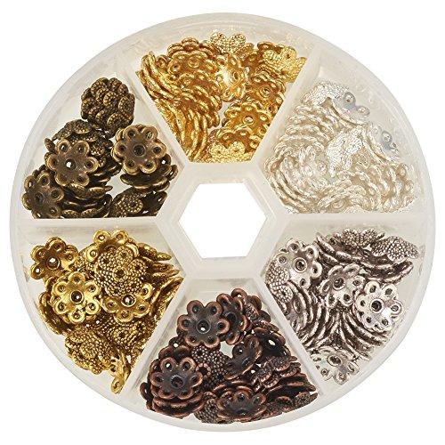 pandahall-elite-1-boite-environ-180pcs-6-couleur-coupelles-calottes-fleurs-style-tibetain-en-alliage