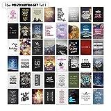75er Postkarten Set mit Sprüchen von VISUAL STATEMENTS® / Hochwertige Spruchkarten / 350g Bilderdruckkarton / 12 x 17,5 cm (XXL) / 75 verschiedene Motive / 75er Set