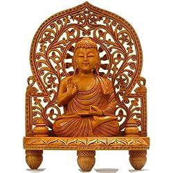 """10"""" Mano de madera tallado Estatua de Buda grande"""