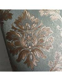 ZZYY*Damasco Continental impermeable pvc papel tapiz estampado oscuro salón wall hotel papel tapiz , ingeniería verde oscuro , sólo papel tapiz