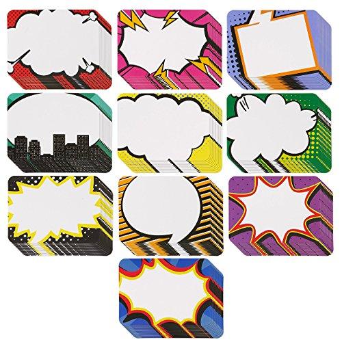 Namensschilder-100Stück Superhero Name Tags, sortiert Popart-Name Label Aufkleber, ideal für Studenten und Lehrer Verwendung, 10Designs, 8,9x 6,3cm