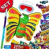 Pinata-Set Schmetterling mit Süßigkeitenfüllung, Butterfly-Pinata, Keule & Maske