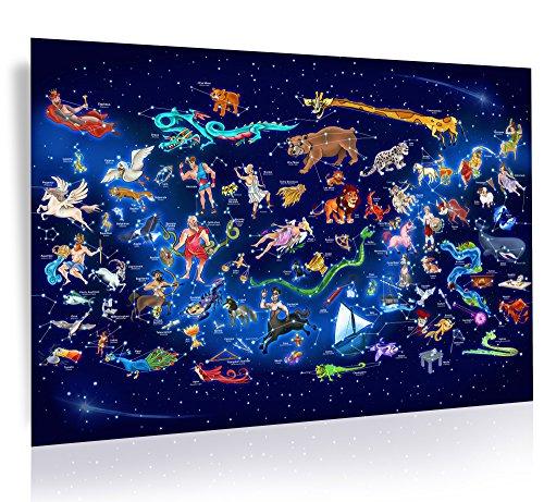 WELTNEUHEIT / XXL Magische einzigartige Sternenhimmel-Karte - Nachts: Funkelnd leuchtender Sternenhimmel / Phosphoreszierende (6-8 Stunden nachleuchtend) - (Limited Edition) (Nacht Himmel Karte)