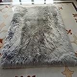 Wool leather Tappeto Di Montone Ecologico Al 100% Lavabile In Lavatrice Naturale Morbido Pelle Di Pecora,Grey-150*180cm