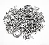 Yueton® 100 Gram Assorted DIY Antique Charms Pendant for Crafting, Jewelry Making Accessory (Silver)
