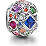 NINAQUEEN® Charm/Collana Arcobaleno Rotto Argento Sterling 925, Zirconio, con Confezione Regalo