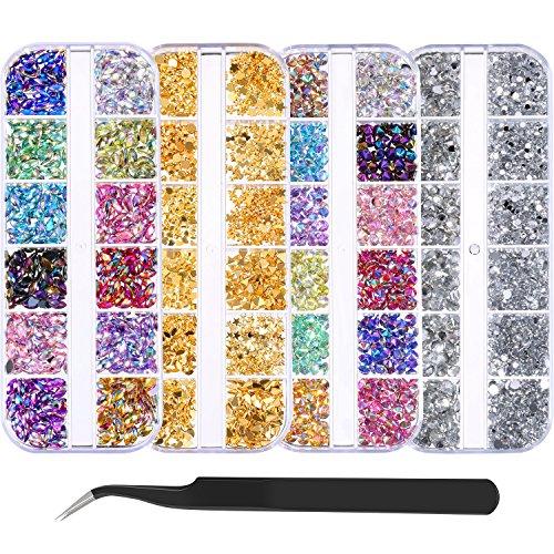 4300 Piezas (4 Cajas) Diamantes de Imitación de Arte de Uñas Kit de Piedras de Uñas con 1 Pieza Pinza, Pernos de Uñas de Multicolor Diamantes de Ojo de Caballo para Decoración Arte de Uña