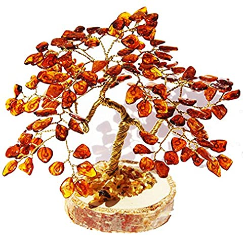Cognac Baltic Amber Tree - BONSAI (135 amber leaves), handmade and boxed. Perfect and Unique gift!