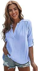 Camicia donna in lino di cotone casual a maniche lunghe camicetta abbottonata,Yanhoo Felpe con cappuccio da donna, Bluse e camicie,Maglie a manica lunga da donna,Top Donna T Shirt