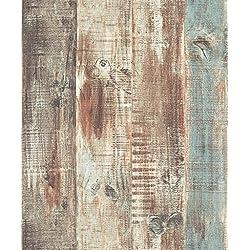 Blooming - Paneles de papel pintado efecto madera, Vintage, para salón dormitorio baño, 53 cm,17 m2, color marrón/azul/marrón/gris