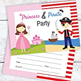 Princess & Pirate Birthday Party Invitations - Kids Fancy Dress Party Invites - A6 Postcard Size with envelopes (Pack of 10)