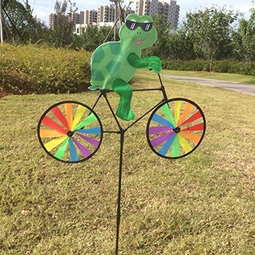 WDDqzf ornament Skulptur Dekoration Nettes Tier 3D Auf Fahrrad-Windmühlen-Karussell-Garten-Rasen-Yard-Dekor-Wind-Spinner (Biene), Schildkröte