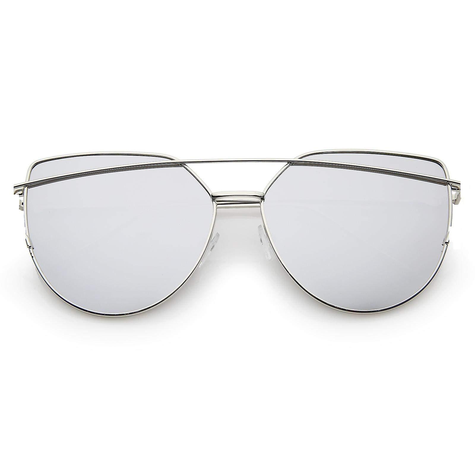 bc5e08f7890 Sheomy unisex UV protected cat eye stylish silver mercury sunglasses ...