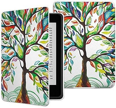 MoKo Etui Liseuse Kindle Paperwhite - étui Flip en Cuir Super Fin et léger pour Amazon Liseuse Kindle Paperwhite (Convient à Tous Les modèles: 2012,2013,2015 et 2016), Arbre Coloré de MoKo - Kindle & Fire, Etuis