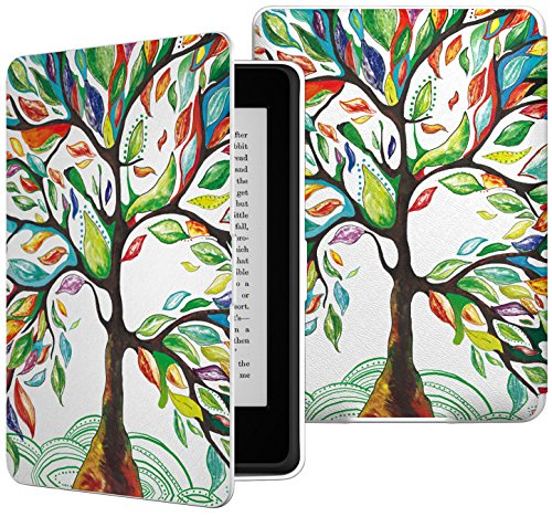 MoKo Kindle Paperwhite Hülle - Ultra Leightweight Schutzhülle Smart Cover mit auto Sleep / Wake Funktion für Amazon Kindle Paperwhite (2016 / 2015 / 2013 / 2012 Modelle mit 6 Zoll Display), Glück Baum (Kindle Fire Tablet Tasche 6 Zoll)