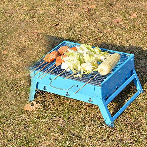 TY&WJ Tragbarer Faltbar Holzkohlegrill,Outdoor Hausgarten Grill Abkochen Bbq Für Camping Wandern Barbecue Werkzeug Geschenk-Blau 37x27x17cm(15x11x7inch)