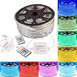 GreenSun LED Lighting 30m LED Lichtband Streifen Strip 60LEDs/m RGB SMD 5050 Lichterkette mit 24 Tasten Musik Fernbedienung Empfänger Stromkabel wasserdicht IP65 Lichtschlauch
