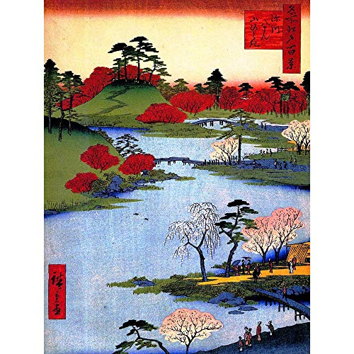 (Wee Blue Coo LTD Painting Japanese Woodblock Colourful Trees River Art Print Poster Wall Decor Kunstdruck Poster Wand-Dekor-12X16 Zoll)