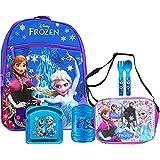 "Disney Frozen Princess Elsa & Anna 16"" Backpack With Shoulder Strap Lunch Bag Water Jug & Sandwich Container"