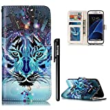 BtDuck Leather Case for Samsung Galaxy S7 Edge / G935 Embossed Snow Leopard Blue Winter The Ghost Of The Night ( Tribal Totem ) Stand Painted pattern Phone Protector PU Leather Flip Folio Cover Anti-slip Skin Outdoor Protection Simple Strict Shockproof Heavy Duty Robust Bumper Case Shell with Stander Oyster Card ( Travel Card Bus Pass)Holder Slots Pocket Kickstand Function Magnetic Closure + 1 * Black Stylus Pen Black Look Up Put down the phone