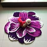 yazi 3D Blume Design Bodenmatten Rutschfeste Bereich Teppiche modernes Wohnzimmer Sofa Teppich Violett 65x 65cm
