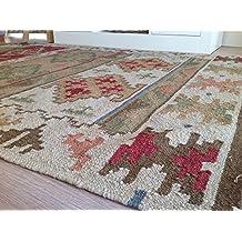 Comercio justo lana geométrico de Bikaner alfombra Kilim–verde mostaza rojo 120cm x 180cm