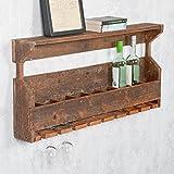 LEBENSwohnART Flaschenregal Weinregal Indo Rustic-Grey Recycled Wood Wand-Regal Vintage Shabby