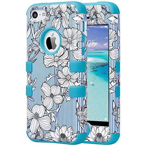 ULAK iPhone 5C Hülle Silikon Shockproof Gehäuse 3in1 case Cover Case Hybrid Schlag Anti-Rutsch Harte Schutzhülle für Apple iPhone 5C, Blume