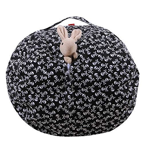 Plüsch Große Kapazität Hause Speicher Sitzsack Halloween Schädel Schwarz Spielzeug Aufbewahrungstasche,38In