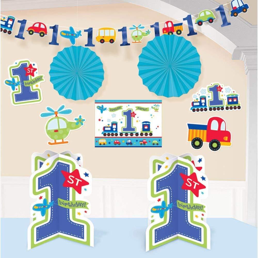 Amscan 10-teiliges Deko-Set Birthday Boy zum ersten Kindergeburtstag