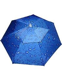 Doble capa 37 cm de diámetro plegable de pesca Headwear paraguas sombrero ventilación UV Protección