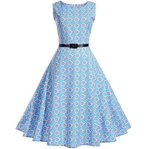 MYMYG Heißer Elegante Damen Mädchen Frauen Vintage Bodycon Sleeveless Beiläufige Abendgesellschaft Tanz Prom Swing Plissee Retro Kleider (G1-Hellblau,EU:42/CN-2XL)