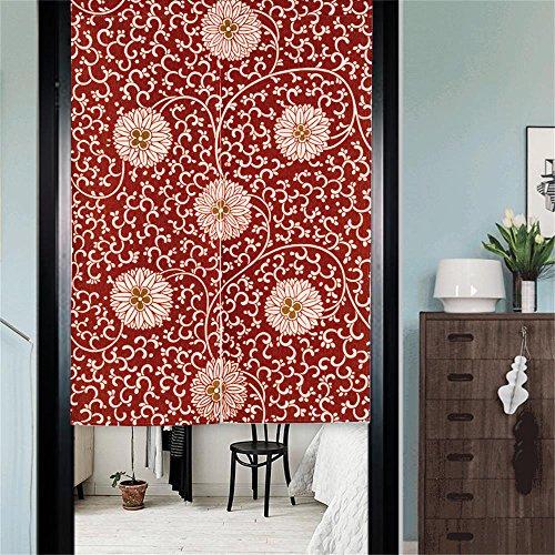 MR FANTASY Noren Japanische Tür Vorhang Tapisserie Baumwolle & Leinen Zimmer Divider Chinesische Blumen Rot 85x120cm (Chinesische Tür-vorhang)