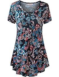 WAJAT Femme T-shirt vintage Manches courtes Polo Col V Tunique