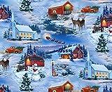 Fat Quarter Country Weihnachten Urlaub Szene 100% Baumwolle