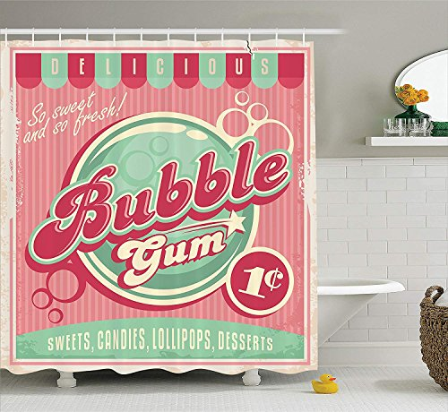 ROBIN GREEN 1950s Decor Collection, Bubble Gum Chewing Delicious Candy Lollipop Sweet Sugar Advertise Poster Style, Polyester Fabric Bathroom Shower Curtain Set with Hooks, Magenta Light Blue