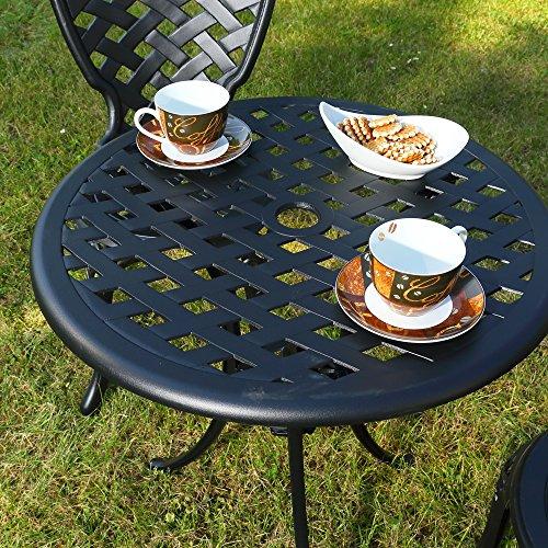 Melko Gartenmöbel Aluminium 3er Set 2 Stühle + Tisch Schwarz Antik Sitzgarnitur Bistro