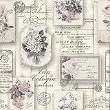 RT Tapete Vintage Holz Aqua Relief 4, 1 Stück, 10,5 x 0,53 m, floral grau/rosa, 855210
