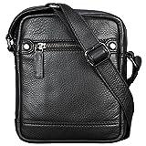 STILORD 'Pepe' Vintage Schultertasche Herren Leder klein Umhängetasche für Männer kompakte Cross Body Bag mit Schultergurt und Reißverschluss aus echtem Leder, Farbe:schwarz